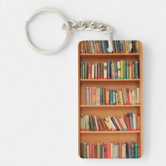 Libros en fondo del estante llavero