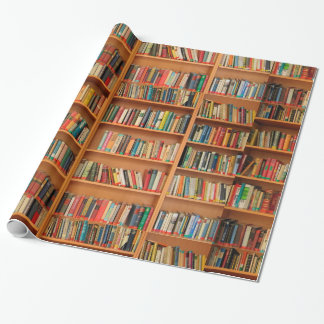 Libros en fondo del estante papel de regalo