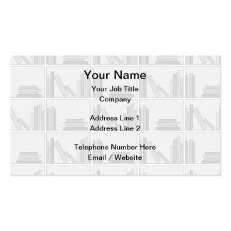Libros grises pálidos en estante tarjetas de visita