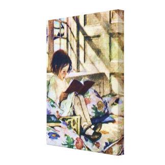 Libros ilustrados en invierno impresión en lienzo