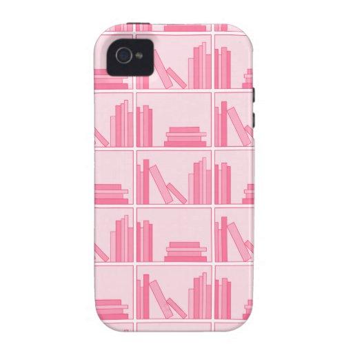 Libros rosados en estante Case-Mate iPhone 4 carcasas