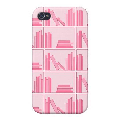 Libros rosados en estante iPhone 4 fundas
