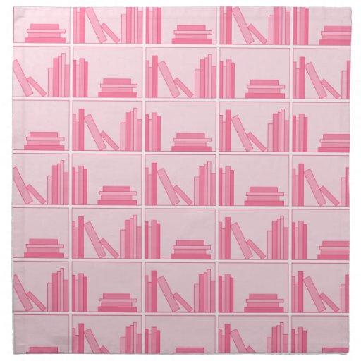 Libros rosados en estante servilletas de papel