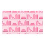 Libros rosados en estante tarjetas de visita