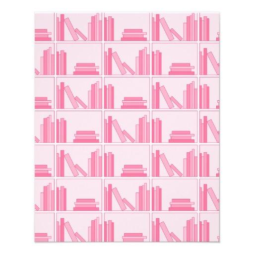 Libros rosados en estante tarjeton