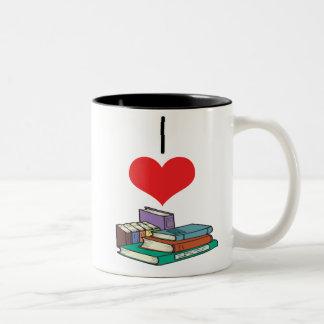 libros taza de café de dos colores