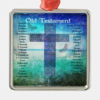 Libros testamento mencionado de la biblia del adorno navideño cuadrado de metal
