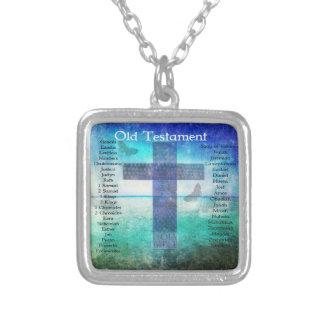 Libros testamento mencionado de la biblia del VIEJ Collar Plateado