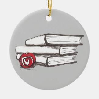 Libros + Un ornamento adaptable del ratón de Adorno Redondo De Cerámica