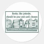 Libros y amigos pegatinas redondas