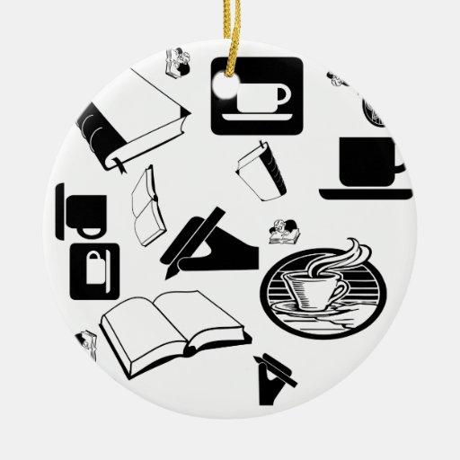 Libros y café: ¿Necesidad digo más? Adorno Redondo De Cerámica