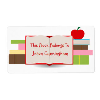 Libros y etiqueta del Bookplate de Apple Etiqueta De Envío