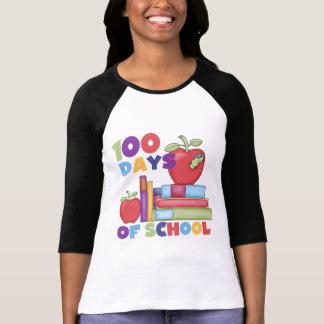 Libros y manzanas 100 días de camisetas de la polera