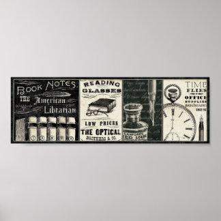 Libros y materiales de oficina del vintage póster