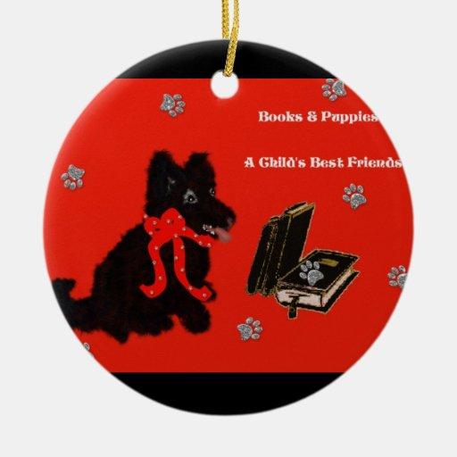 Libros y perritos ornamento para arbol de navidad
