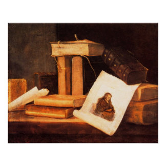 libros y una aguafuerte de Rembrandt por Stoskopff Póster