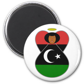 Libya Angel Flag 2 Inch Round Magnet