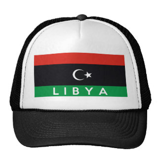 libya country flag symbol name text trucker hat