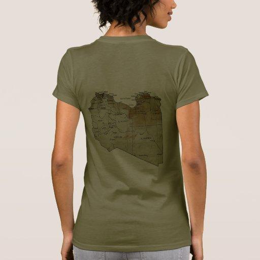Libya Flag and Map dk T-Shirt Tshirts