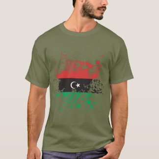 Libya Flag Ink Splatter T-Shirt