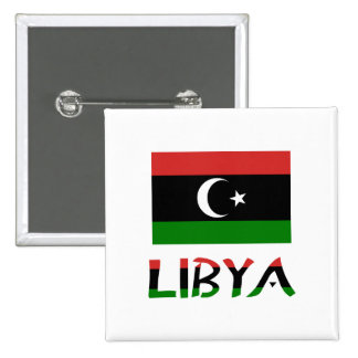Libya Flag & Word 2 Inch Square Button