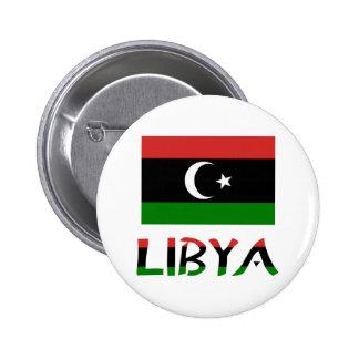 Libya Flag & Word 2 Inch Round Button