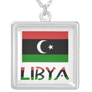 Libya Flag & Word Square Pendant Necklace