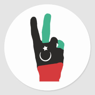 Libya Gaddafi - V of victory Classic Round Sticker
