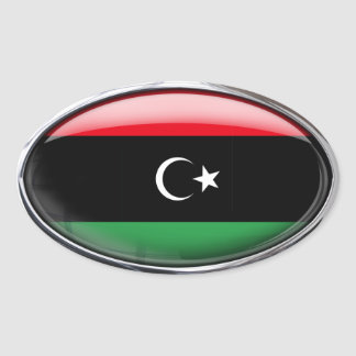 Libya Independence Flag in Glass Oval (pack of 4) Oval Sticker