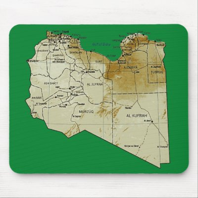physical maps of libya. Libya Map Mousepad by