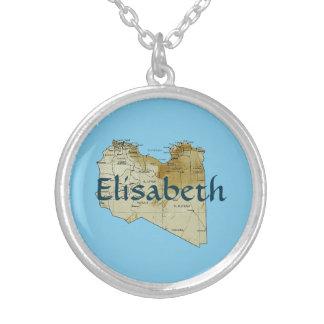 Libya Map + Name Necklace