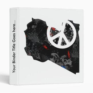 Libya Trendy Peace Sign with Libyan map 3 Ring Binders