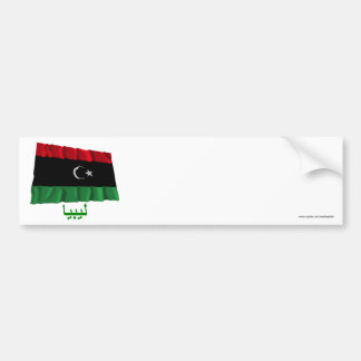 Libya Waving Flag with Name in Arabic Bumper Stickers