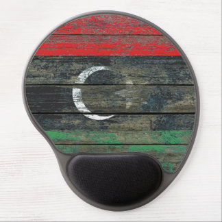Libyan Flag on Rough Wood Boards Effect Gel Mouse Pad
