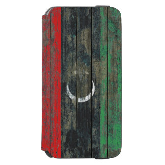 Libyan Flag on Rough Wood Boards Effect iPhone 6/6s Wallet Case