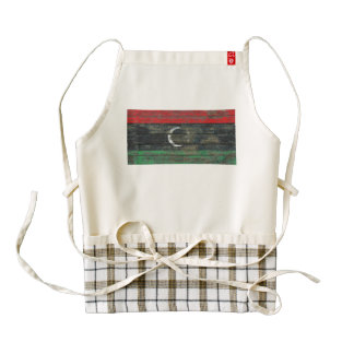 Libyan Flag on Rough Wood Boards Effect Zazzle HEART Apron