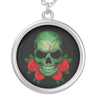 Libyan Green Flag Skull with Red Roses Pendant