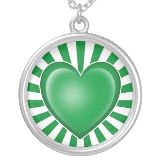 Libyan Heart Flag with Sun Rays Custom Necklace