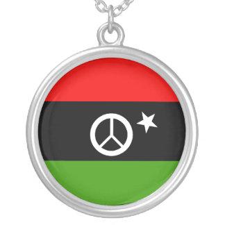 Libyan Peace Round Pendant Necklace