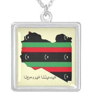 Libyan Republic (flag on map) Square Pendant Necklace