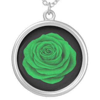 Libyan Rose Flag on Black Personalized Necklace