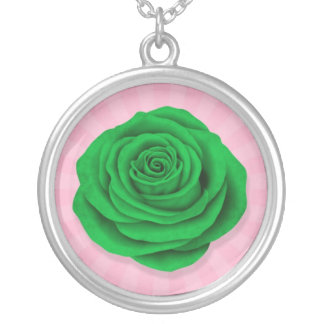 Libyan Rose Flag on Pink Personalized Necklace