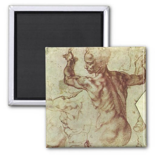 Libyan Sibyl Study by Michelangelo 2 Inch Square Magnet