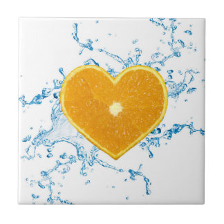 lice of Heart Shaped Orange - Ceramic Tile