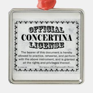Licencia acordeón adorno navideño cuadrado de metal