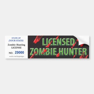 Licencia de caza del ZOMBI con los salpicones de l Pegatina Para Auto