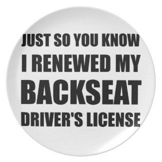 Licencia de conductores de asiento trasero platos para fiestas