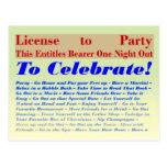 Licencia de ir de fiesta postales