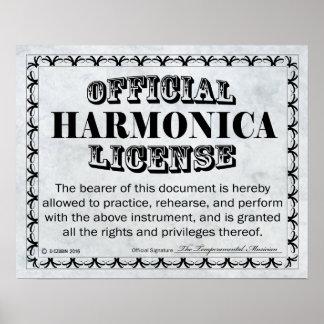 Licencia de la armónica póster