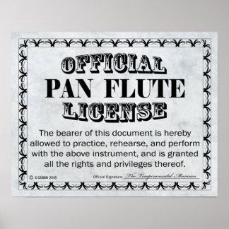 Licencia de la flauta de la cacerola póster
